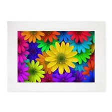 Colorful Daisies 5'x7'Area Rug
