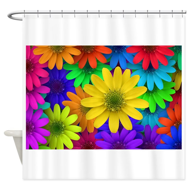Colorful daisies shower curtain by stircrazy Colorful shower curtains