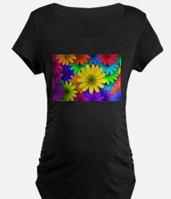 Colorful Daisies Maternity T-Shirt