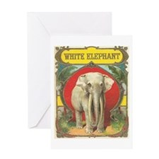vintage white elephant whimsical gifts Greeting Ca