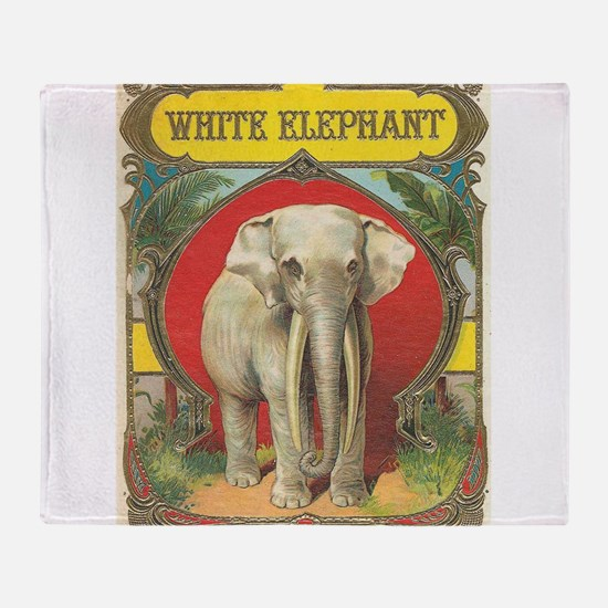 vintage white elephant whimsical gifts Throw Blank