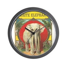 vintage white elephant whimsical gifts Wall Clock