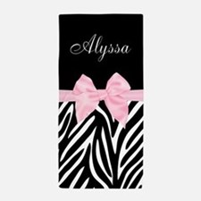 Black Pink Bow Zebra Personalized Beach Towel