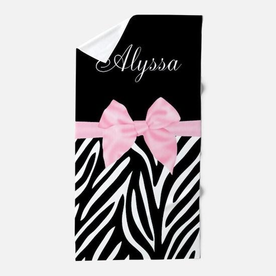 Black Pink Bow Zebra Personalized Beach Towel