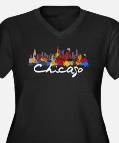 Chicago Illi Women's Plus Size V-Neck Dark T-Shirt