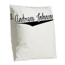 Andrew Johnson, Retro, Burlap Throw Pillow