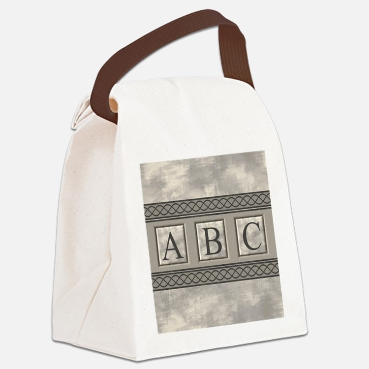 Personalizable Marble Monogram Canvas Lunch Bag