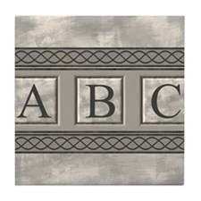 Personalizable Marble Monogram Tile Coaster
