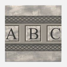Personalizable Marble Monogram Tile Coaster