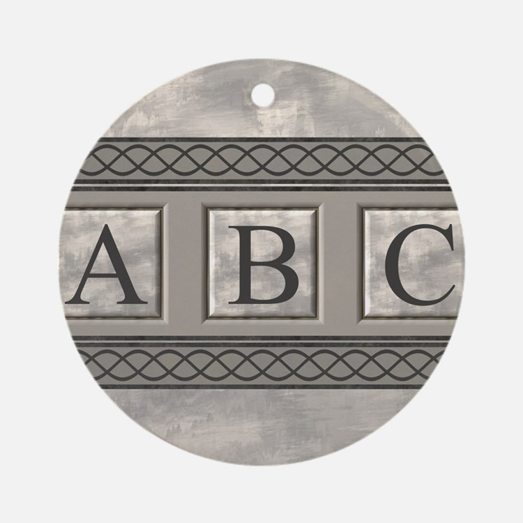Personalizable Marble Monogram Ornament (Round)