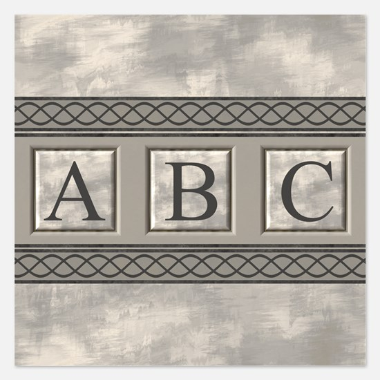 Personalizable Marble Monogram Invitations