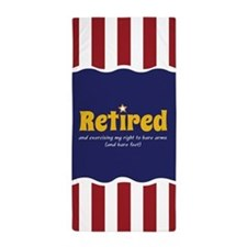 Patriotic Retired Theme Beach Towel