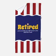 Patriotic Retired Theme Beach Towel