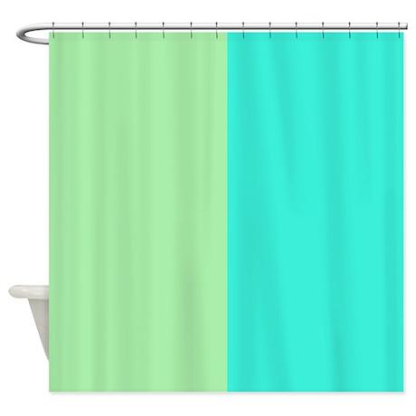 half mint green and aqua shower curtain by patternedshop. Black Bedroom Furniture Sets. Home Design Ideas