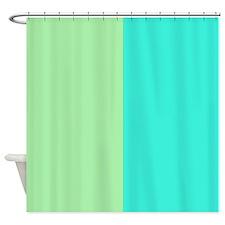 Half Mint Green and Aqua Shower Curtain