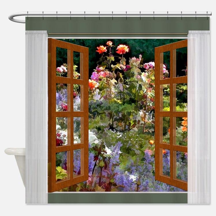 Rose Garden in Sunlight Shower Shower Curtain