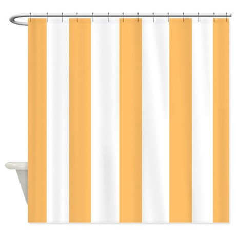 Light Orange And White Stripes Shower Curtain By Laughoutlouddesigns1