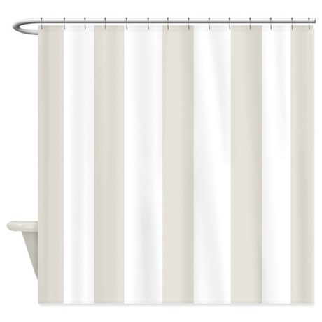 Beige And White Stripes Shower Curtain By ShowerCurtainsWorld