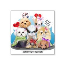 "Puppies Manifesto Square Sticker 3"" x 3"""