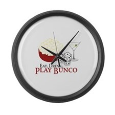 EAT.DRINK.PLAY BUNCO Large Wall Clock