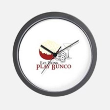EAT.DRINK.PLAY BUNCO Wall Clock