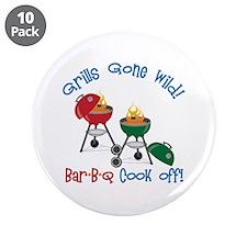 "Grills Gone Wild! Bar-B-Q Cook Off! 3.5"" Button (1"