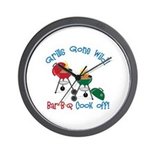 Grills Gone Wild! Bar-B-Q Cook Off! Wall Clock