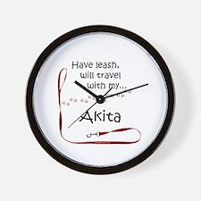 Akita Travel Leash Wall Clock