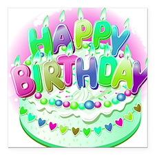 "Happy Birthday Cake Square Car Magnet 3"" x 3"""