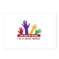 Will Work for change im a social worker Postcards