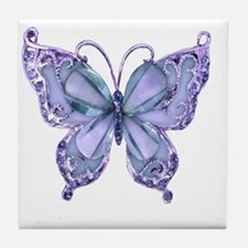 Pretty Blue Butterfly Tile Coaster