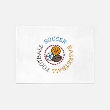 Football Soccer Basketball 5'x7'Area Rug