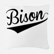 Bison, Retro, Woven Throw Pillow