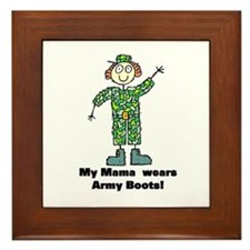 My Mama Wears Army Boots Framed Tile