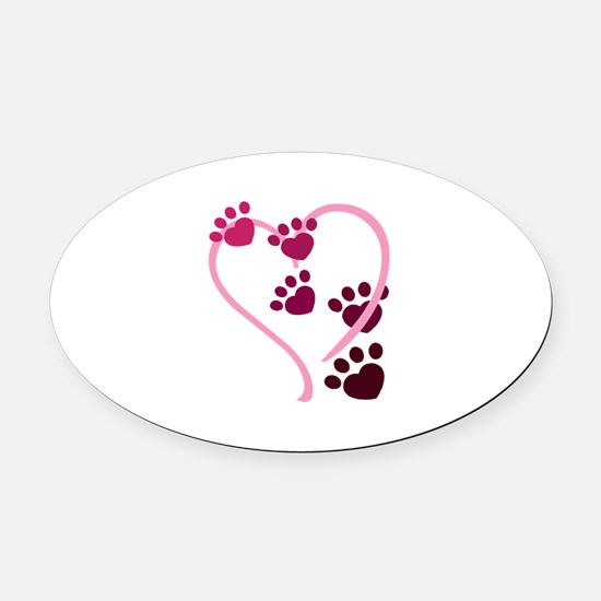 Dog Paws Oval Car Magnet