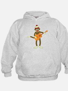Sock Monkey Acoustic Guitar Kids Hooded Sweatshirt