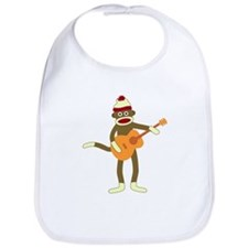 Sock Monkey Acoustic Guitar Player Baby Bib