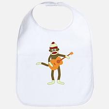 Sock Monkey Acoustic Guitar Player Baby Bib