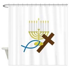 Jewish And Christian Shower Curtain