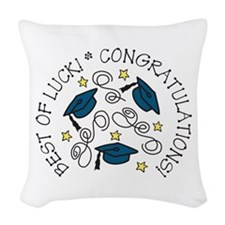 BEST OF LUCK! CONGRATULATIONS! Woven Throw Pillow