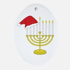 Hanukkah And Christmas Ornament (Oval)