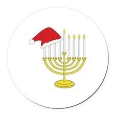 Hanukkah And Christmas Round Car Magnet
