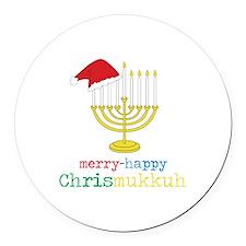merry-happy Chrismukkah Round Car Magnet