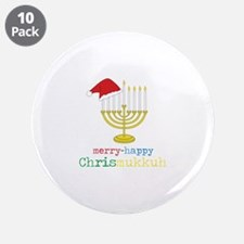 "merry-happy Chrismukkah 3.5"" Button (10 pack)"