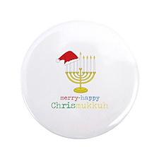 """merry-happy Chrismukkah 3.5"""" Button"""