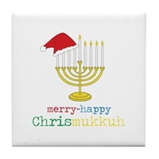 merry-happy Chrismukkah Tile Coaster