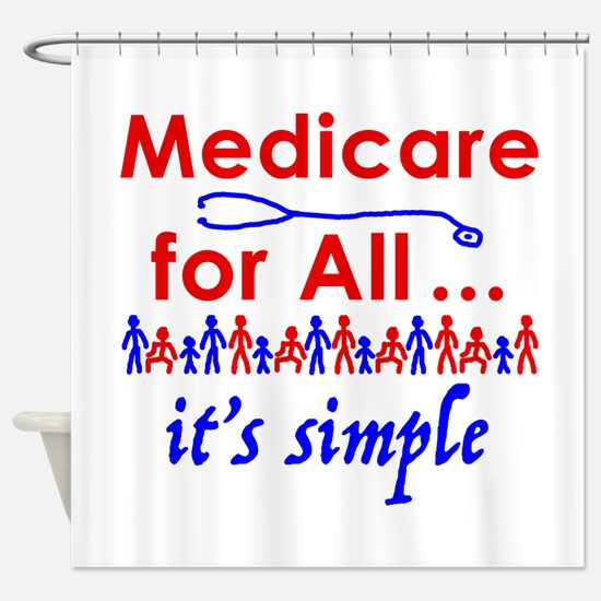 Medicare for all in blue and red Shower Curtain