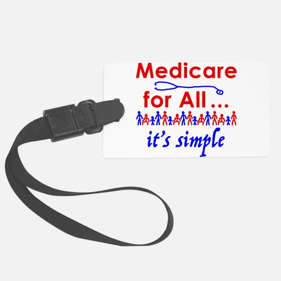 Medicare for all in blue and red Luggage Tag