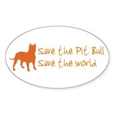 Save The Pit Bull.. Oval Decal