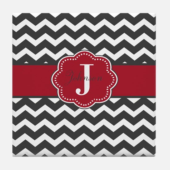 Gray Red Chevron Personalized Tile Coaster
